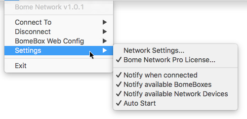 The settings menu of the Bome Network tool.