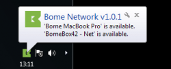 On Windows, the Bome Network tool resides in the system tray.