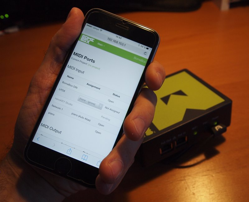 BomeBox Web Config on a smart phone
