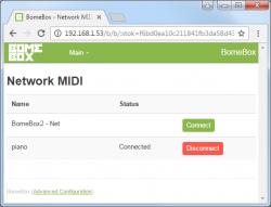 BomeBox Web Config: Network MIDI