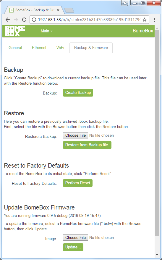 BomeBox Web Config: Backup & Firmware