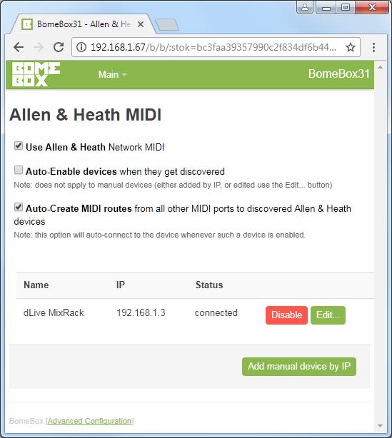 BomeBox Web Config: Allen & Heath page