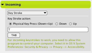 Keystroke Incoming Action