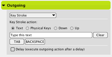 Text Keystroke Outgoing Actions