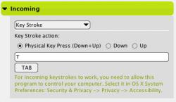 Keystroke Incoming Action