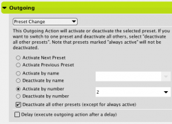 Preset Change Outgoing Action