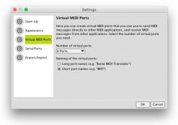 Virtual MIDI Ports Settings