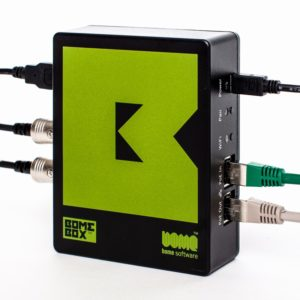 BomeBox with some cables attached (cables not included).